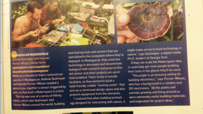 PhD Expedition in Make Magazine